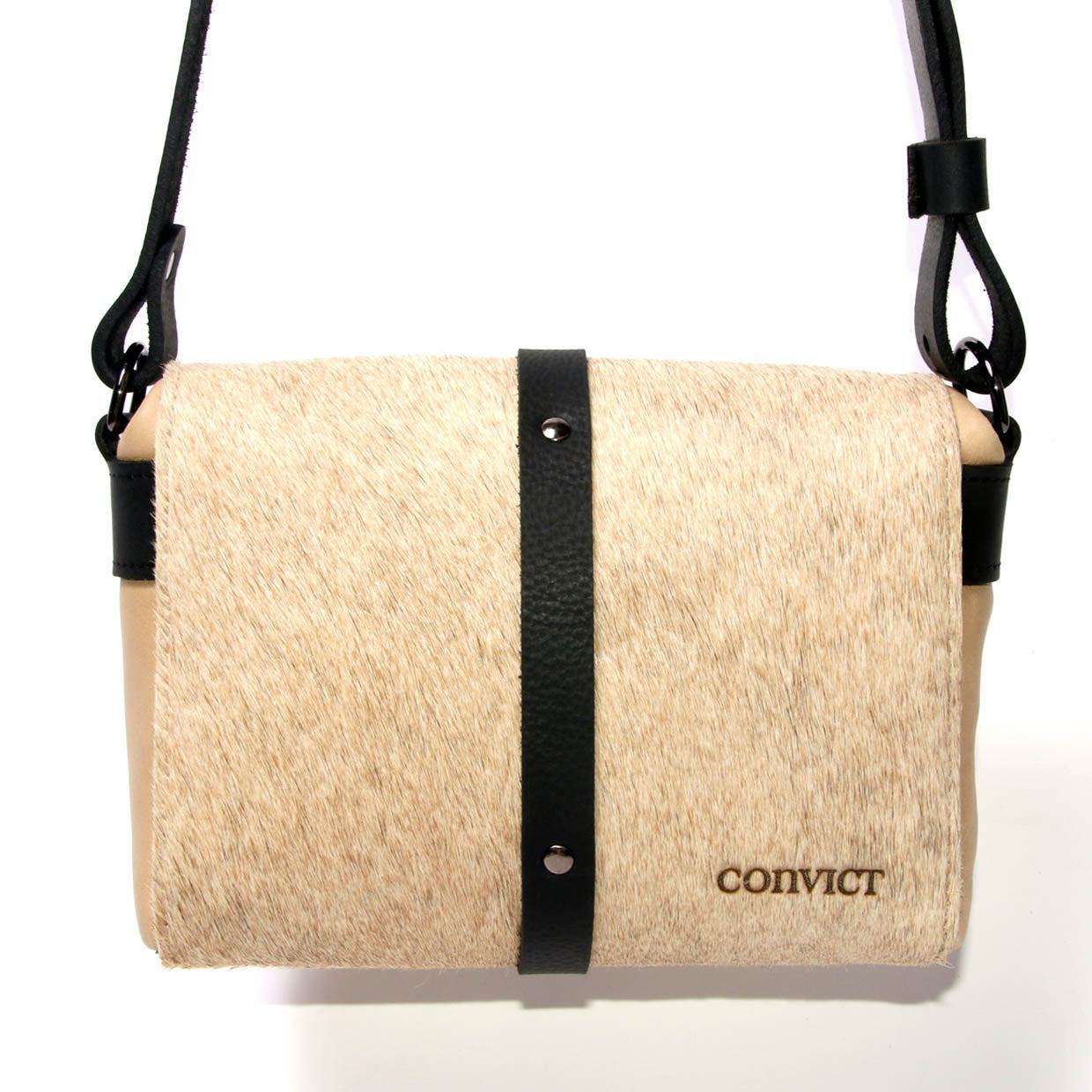 Sophia Box Satchel back - Beige cowhide detail