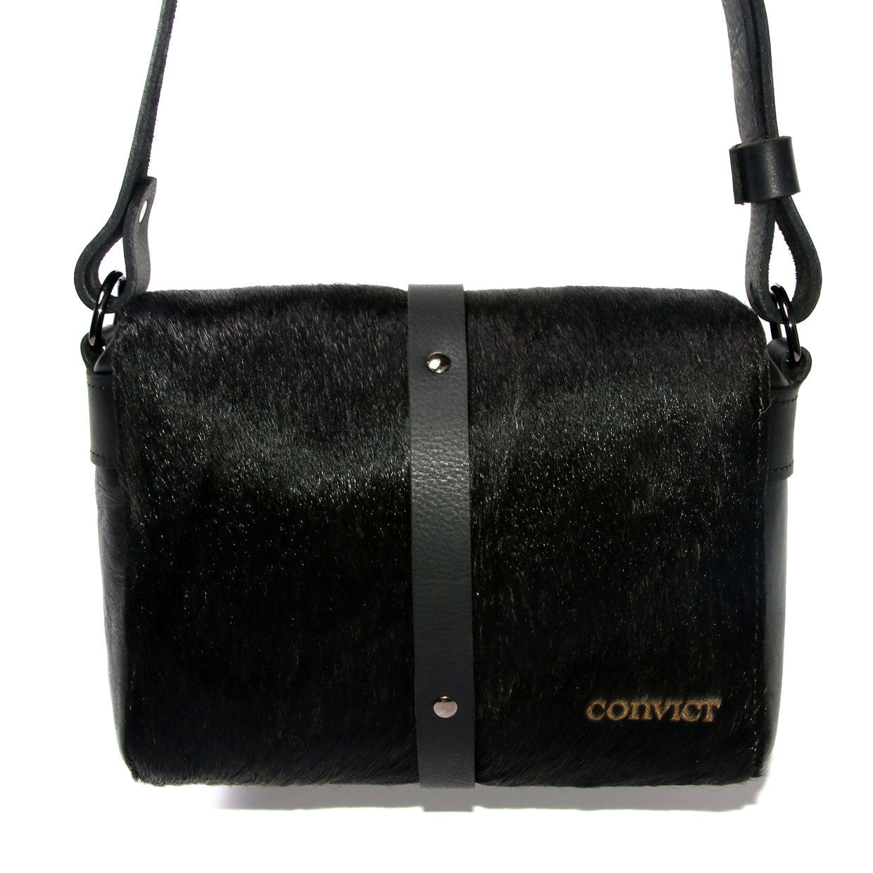 Sophia Box Satchel Back - Black cowhide detail