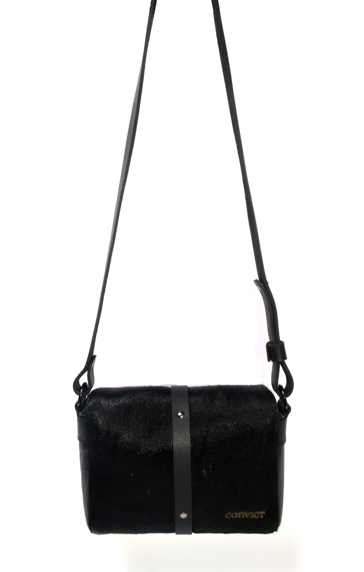 Sophia Box Satchel Back - Black cowhide