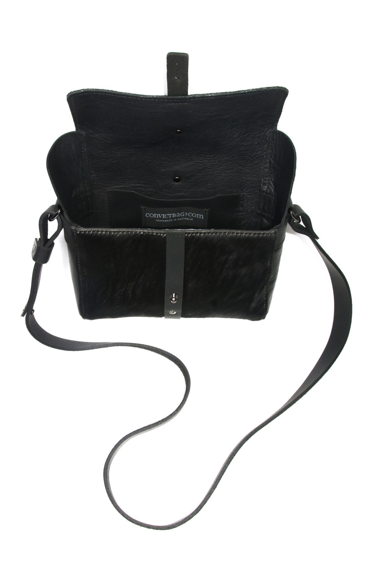 Sophia Boxy Bag - Black cowhide leather - open