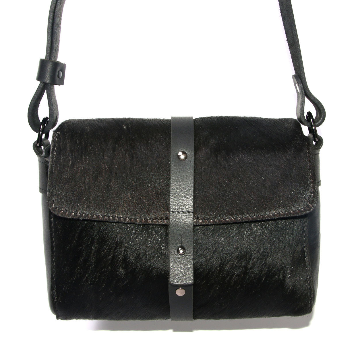 Sophia Box Satchel - Black cowhide detail