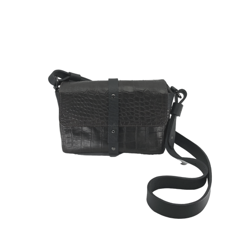 Annette Pouch Black Snake print emboss leather