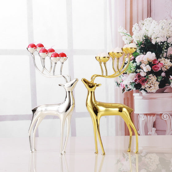 Luxurious Spotted Deer Candle Holders Stainless Steel