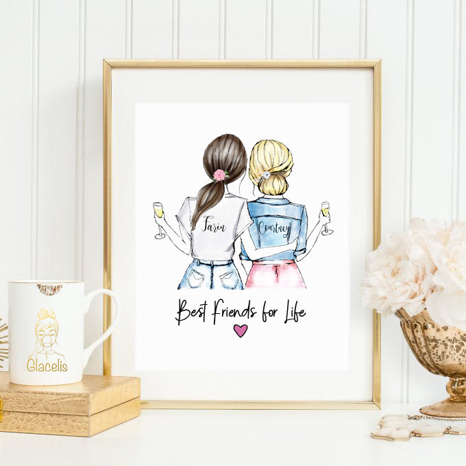 personalized best friends for life wall art for birthday