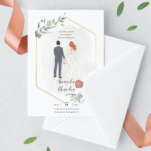 Our elegant, custom wedding stationary collection features custom Wedding Invitation, Save the Date card, RSVP card, Thank You card, Dinner Menu, Guest Name Card, and Table Number Card.