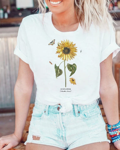 sunflower white tee for women, winter shirt, christmas shirt at glacelis