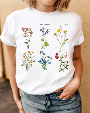 beautiful  botanical tee wildflower white shirt for women, winter shirt for women, the perfect tee for women at glacelis