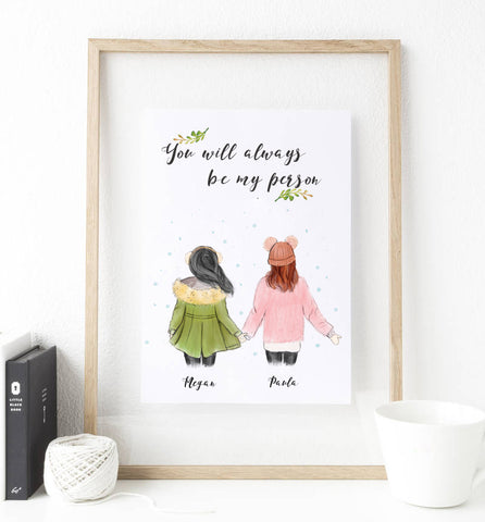 Christmas gift for best friends, soul sisters, friendship, girlfriend print art, unique ideas for gifts