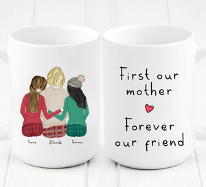 Personalized Two Daughters and Mom Mug - Create a unique personalized mug for your mom that she will always cherish. This cute and heartfelt gift will show her how much she is appreciated and how big of an impact your Mom has made in your life