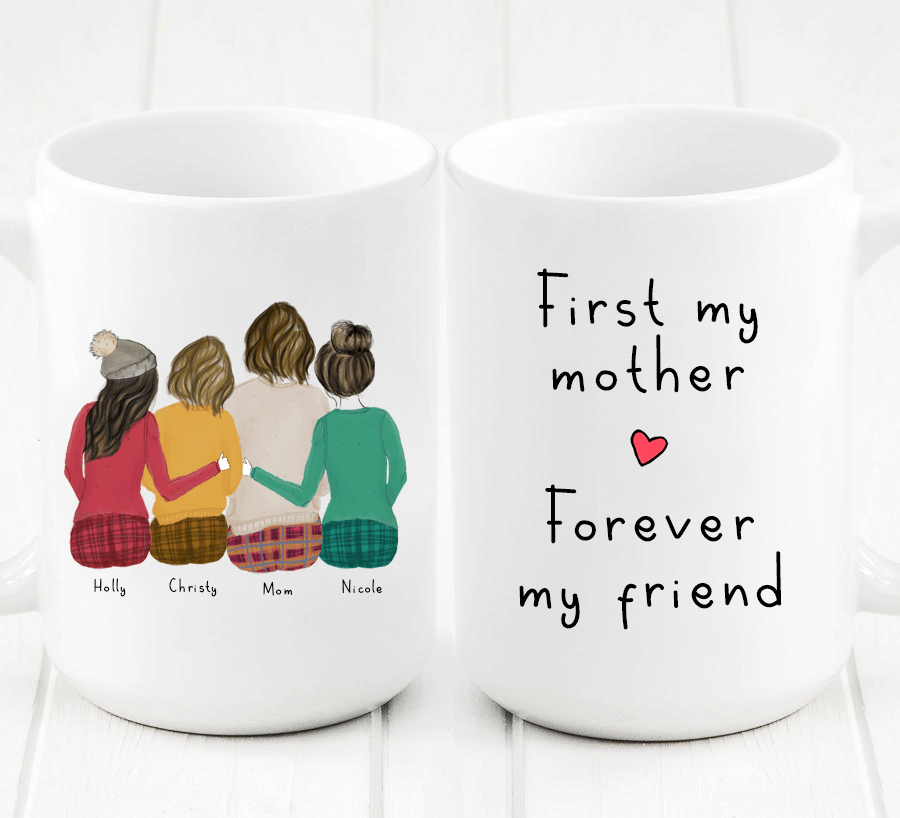 Personalized Three Daughters and Mom Mug - Create a personalized mug for your Mom that she will always cherish. This cute and heartfelt gift will show her how much she is appreciated and how big of an impact your Mom has made in your life.