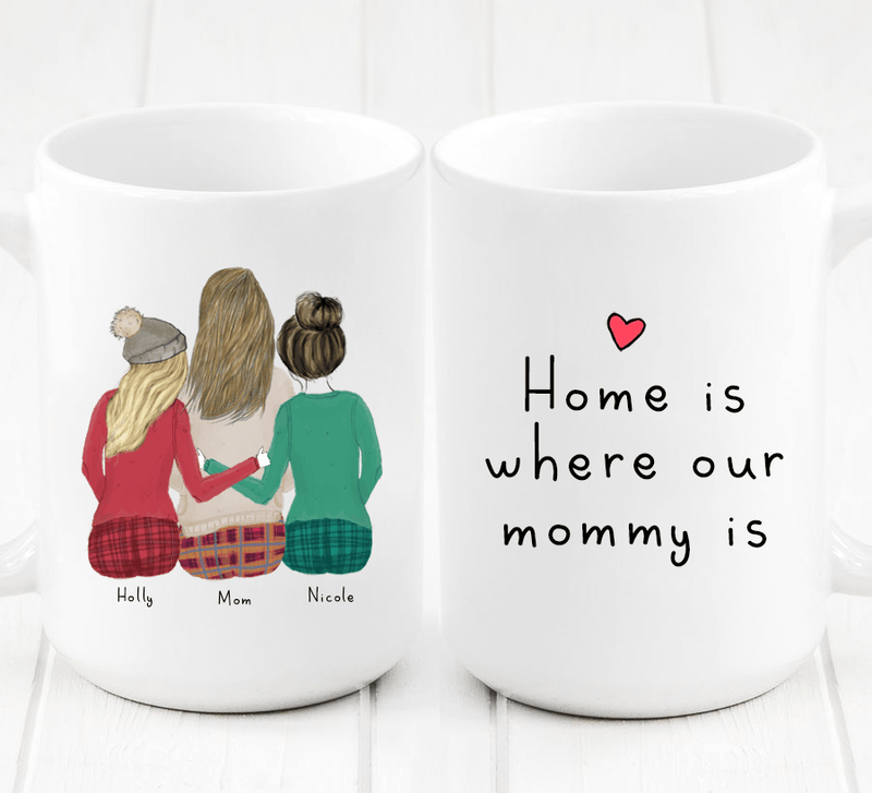 Personalized Two Daughters and Mom Mug