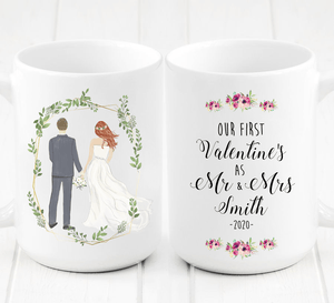 Personalized First Valentine's as Mr and Mrs Mug - Surprise the bride and groom in your life with this thoughtful, one of a kind original and customizable artwork. It's the perfect gift for Valentine's Day as a newlywed couple.