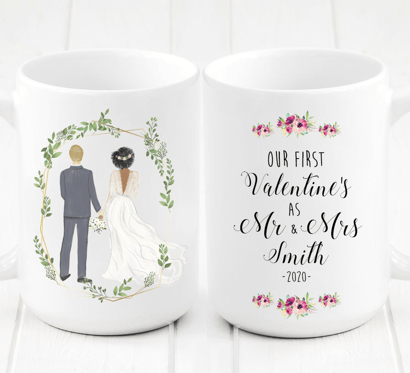 Personalized First Valentine's as Mr and Mrs Mug