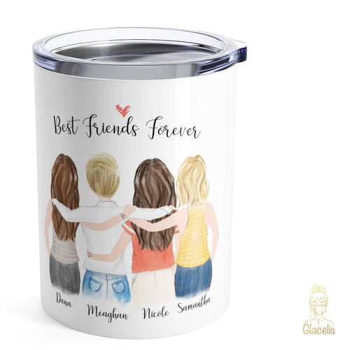 Personalized four friends travel mug