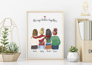 Four Women Custom Best friends  Print Art for Christmas - Custom Personalized Gifts for friends, Family & special occasions!