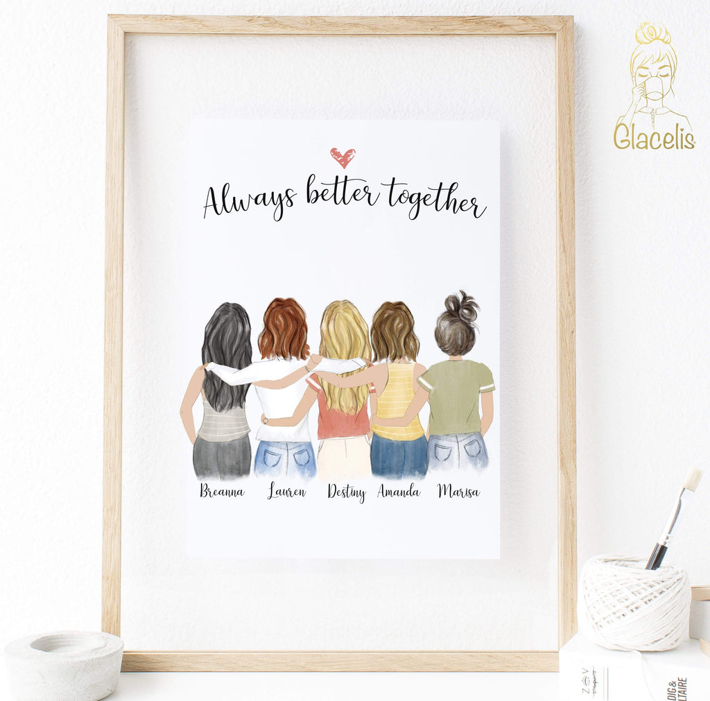 Five Women Custom Best Friends Print Art - This piece features five girls you can customize with hair color, skin color, and names for the perfect BFF art piece at Glacelis