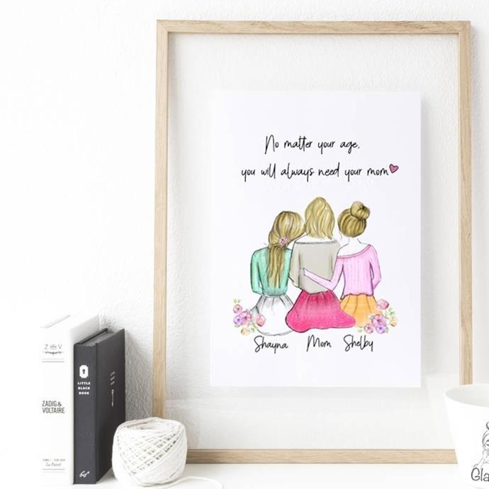 Personalized Daughters and Mom Wall Art - Create a unique personalized gift for Mother's Day that she will always cherish: make your mothers day by getting her this custom mother and daughter art. This heartwarming art piece is based on the love and bond daughters all around the world share with their mother.