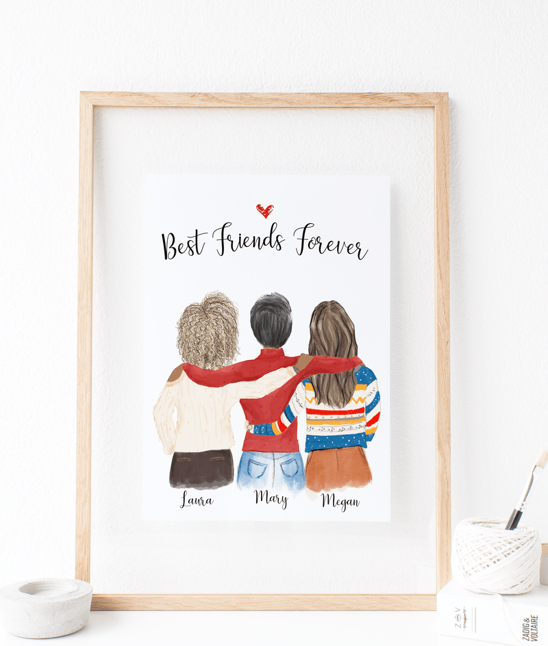 Three Women Custom Best Friends Print Art
