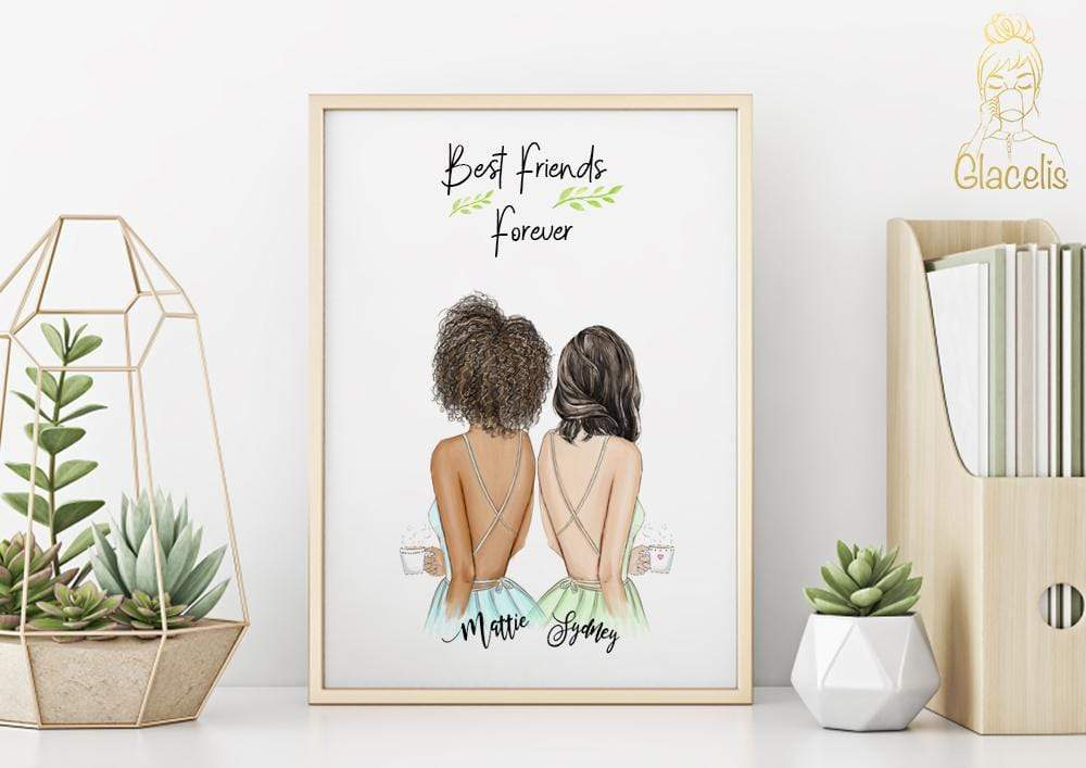 Personalized Unbiological Sister  Wall Art - Consider this cute, heartfelt artwork for the unbiological sister or best friend that you love. As your right hand BFF, your friend will cherish this gift that depicts your friendship perfectly at Glacelis