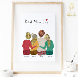 Personalized Daughters and Mom Print Art 3 Daughters