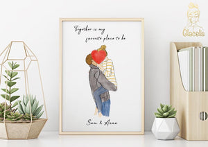 "Personalized Couple Wall Art - What better way to say ""I love you"" ? Our personalized Couple wall art is perfect to show your spouse how much they mean to you."