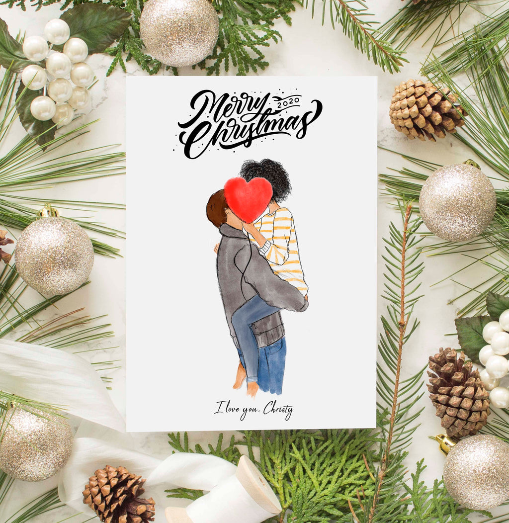 Personalized Couples - For Him, For her Christmas Greeting Card