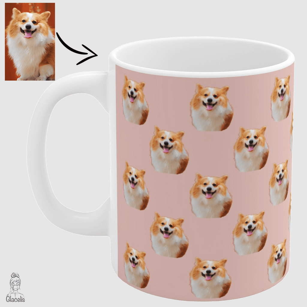 personalized dog face coffee mug unique gift ideas for dog lovers, dog owners, photo face dog mug glacelis