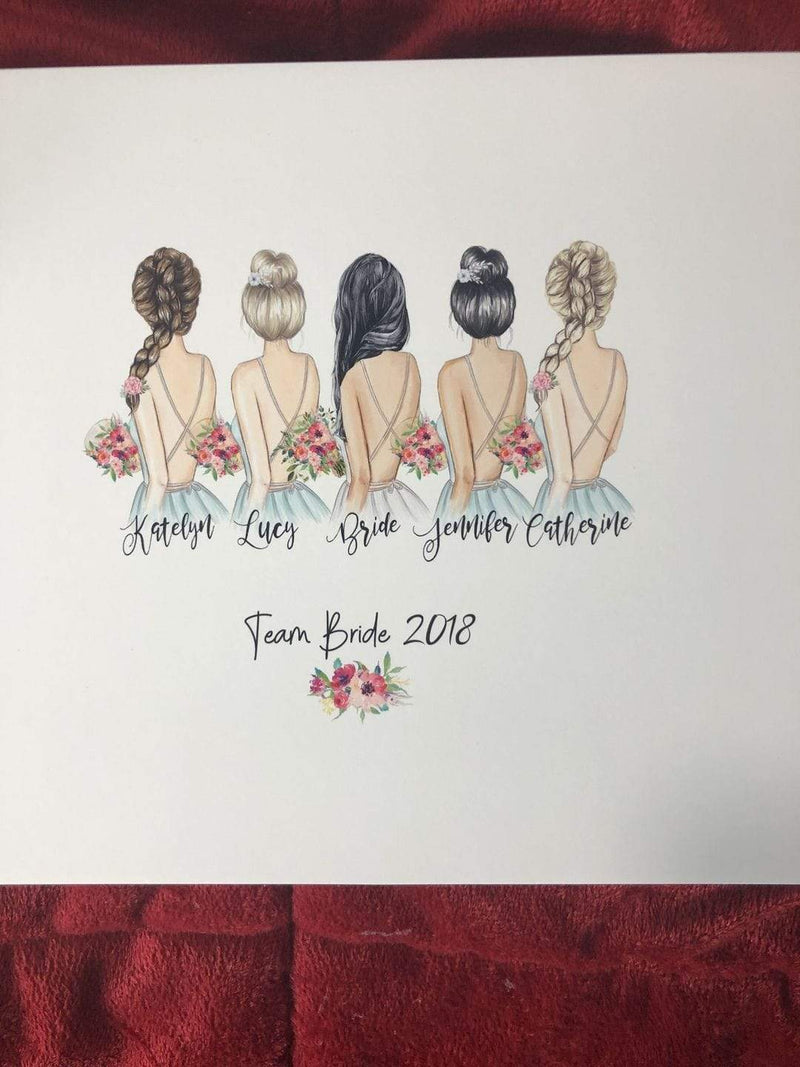 Personalized Team Bride Wall Art more than 7 Bridesmaids - Custom Personalized Gifts for friends, Family & special occasions!