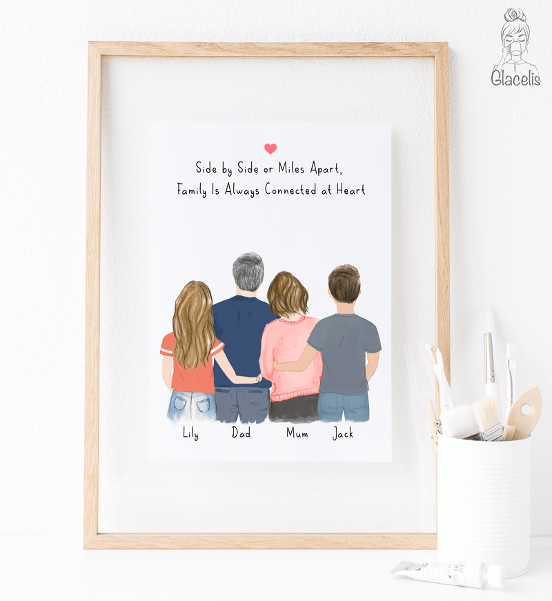 Family of  Four - Mom, Dad, Daughter and Son  Print Art