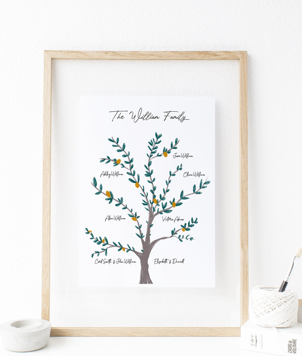 personalized family tree wall art with names, unique family gifts for Christmas 2020