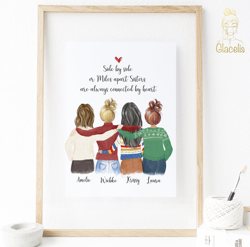 Four Women Custom Best friends Print Art - Order one or four copies of this custom print so that every BFF in your group gets a copy at Glacelis