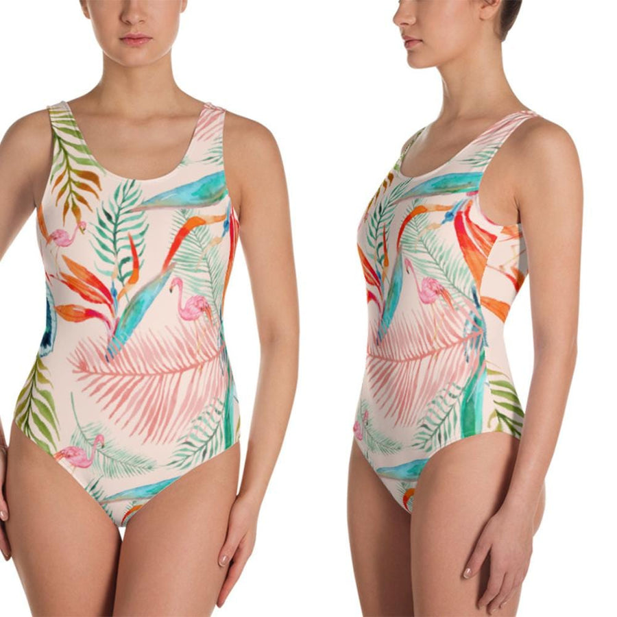 Flamingo Vibes One Piece Swimsuit - Custom Personalized Gifts for friends, Family & special occasions!