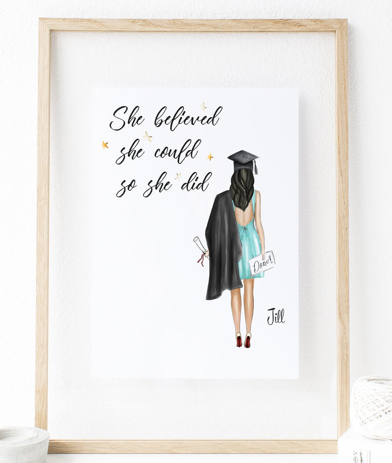 Personalized Graduation Print - She Believed She Could So She Did
