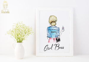 Personalized Girl Boss Wall Art - Custom Personalized Gifts for friends, Family & special occasions!