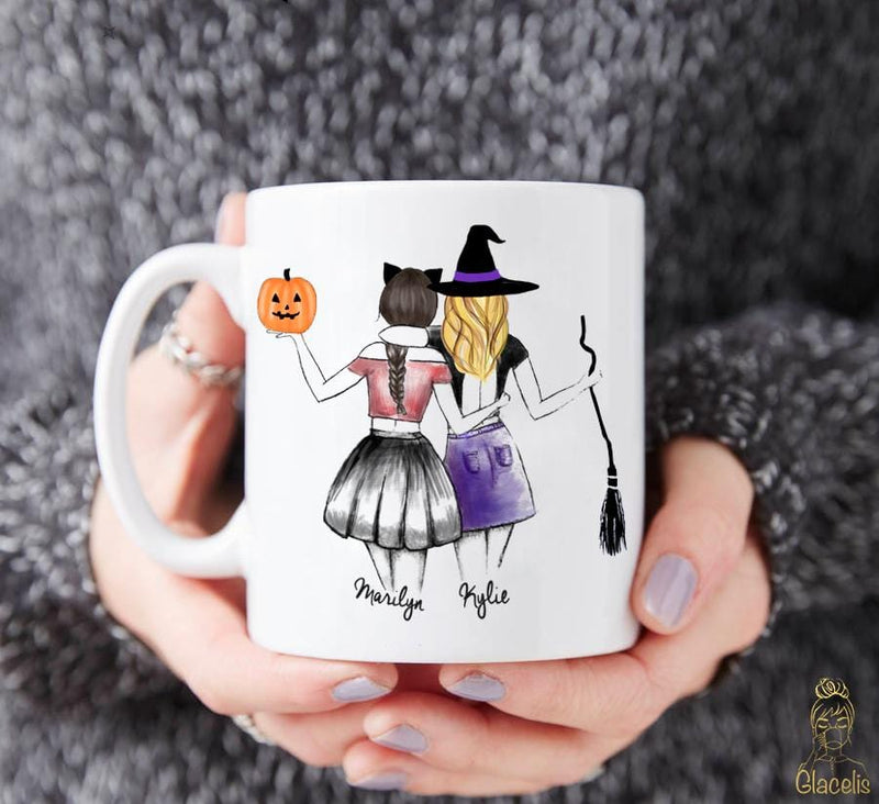 Personalized Unique Halloween Mug for best friends - Custom Personalized Gifts for friends, Family & special occasions!