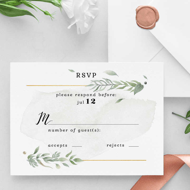 Personalized Wedding RSVP - this customized RSVP card offers timeless artwork with options to customize the wedding date, and fill in spots for your guest's names. Family and friends will love this simple and sentimental RSVP to remember your big day.