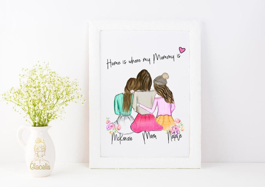 Personalized Daughters and Mom Wall Art