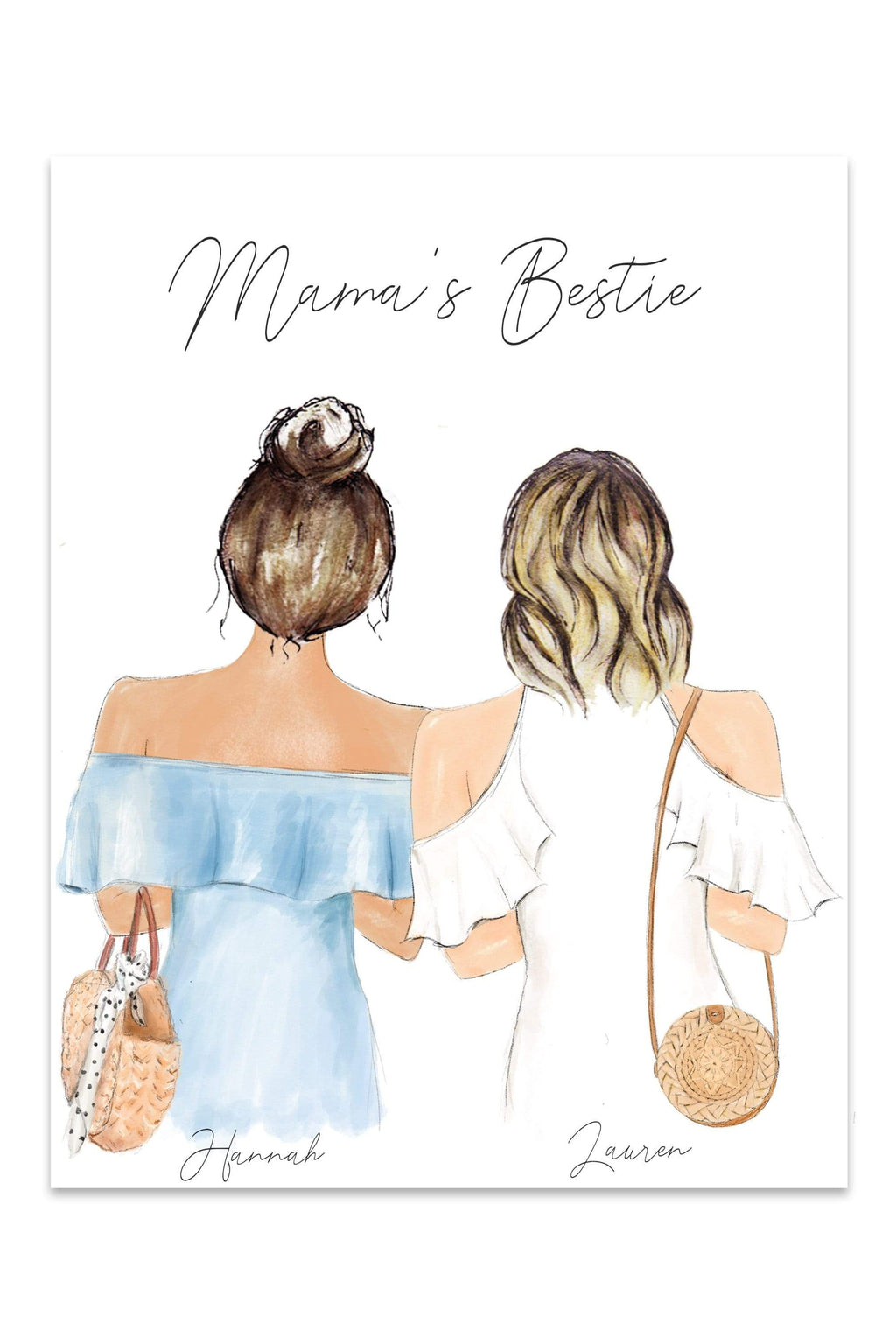 Mama's Bestie Print Art or Mug - this artwork is perfect for the mother or mother figure in your life at Glacelis