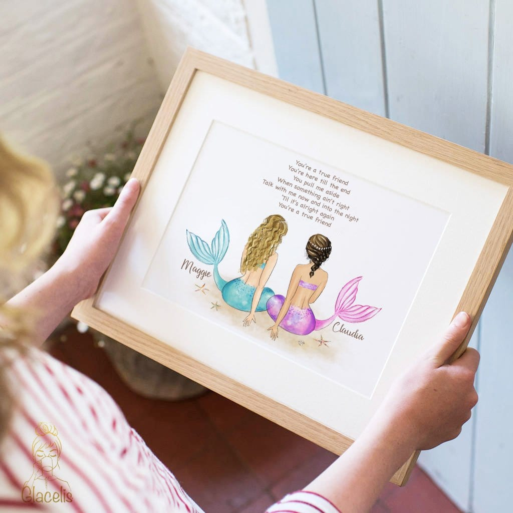 Mermaid Sisters Wall Art - For all mermaid sisters and mermaid best friends, this original drawing is the best gift for your favorite mermaid