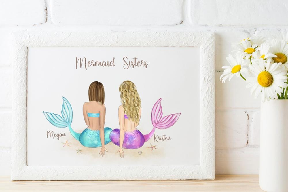 Mermaid Sisters Wall Art - Custom Personalized Gifts for friends, Family & special occasions!