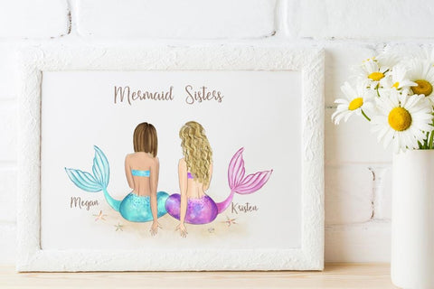 Mermaid Sisters Wall Art