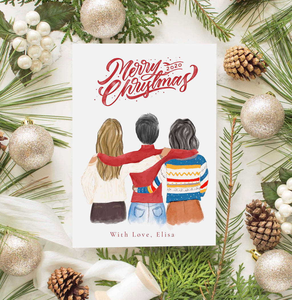Personalized Three Best Friends Female Christmas Greeting Card