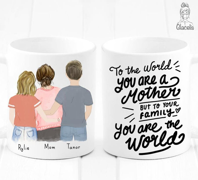 Family of  three - Mom, Daughter and Son  Mug