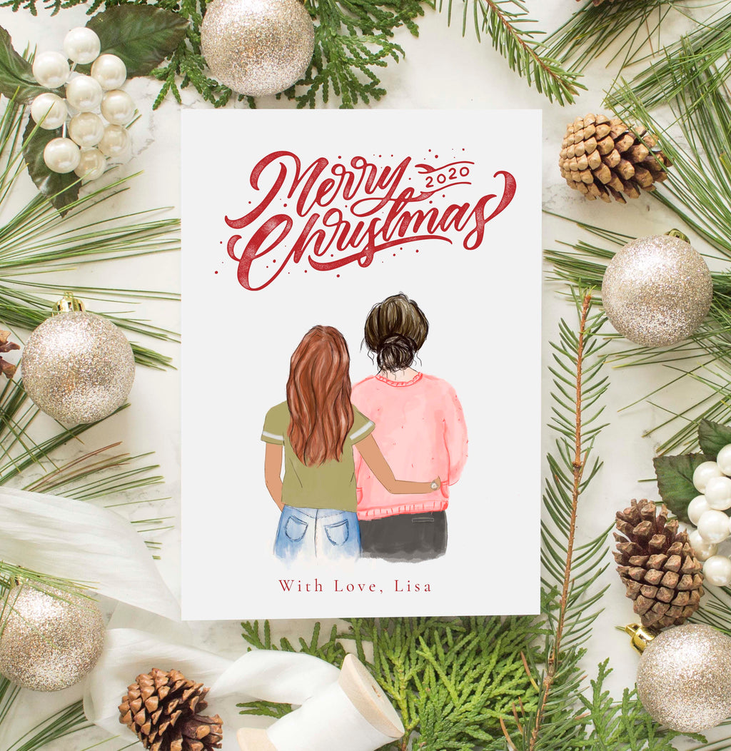 Personalized Mother and Daughter Christmas Greeting Card