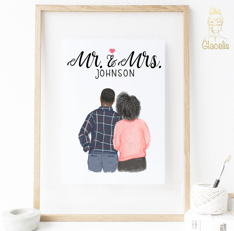 custom mr and mrs print art for love couples at glacelis