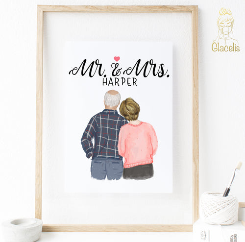 Mr. and Mrs. Anniversary Print Art - a sentimental piece of art for the perfect anniversary present.