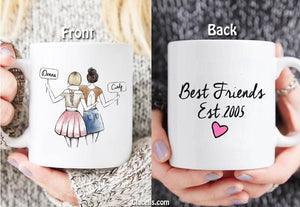 Personalized Best Friend Gift, - of date Friendship Gift,  on  Mug - By Glacelis® - Custom Personalized Gifts for friends, Family & special occasions!