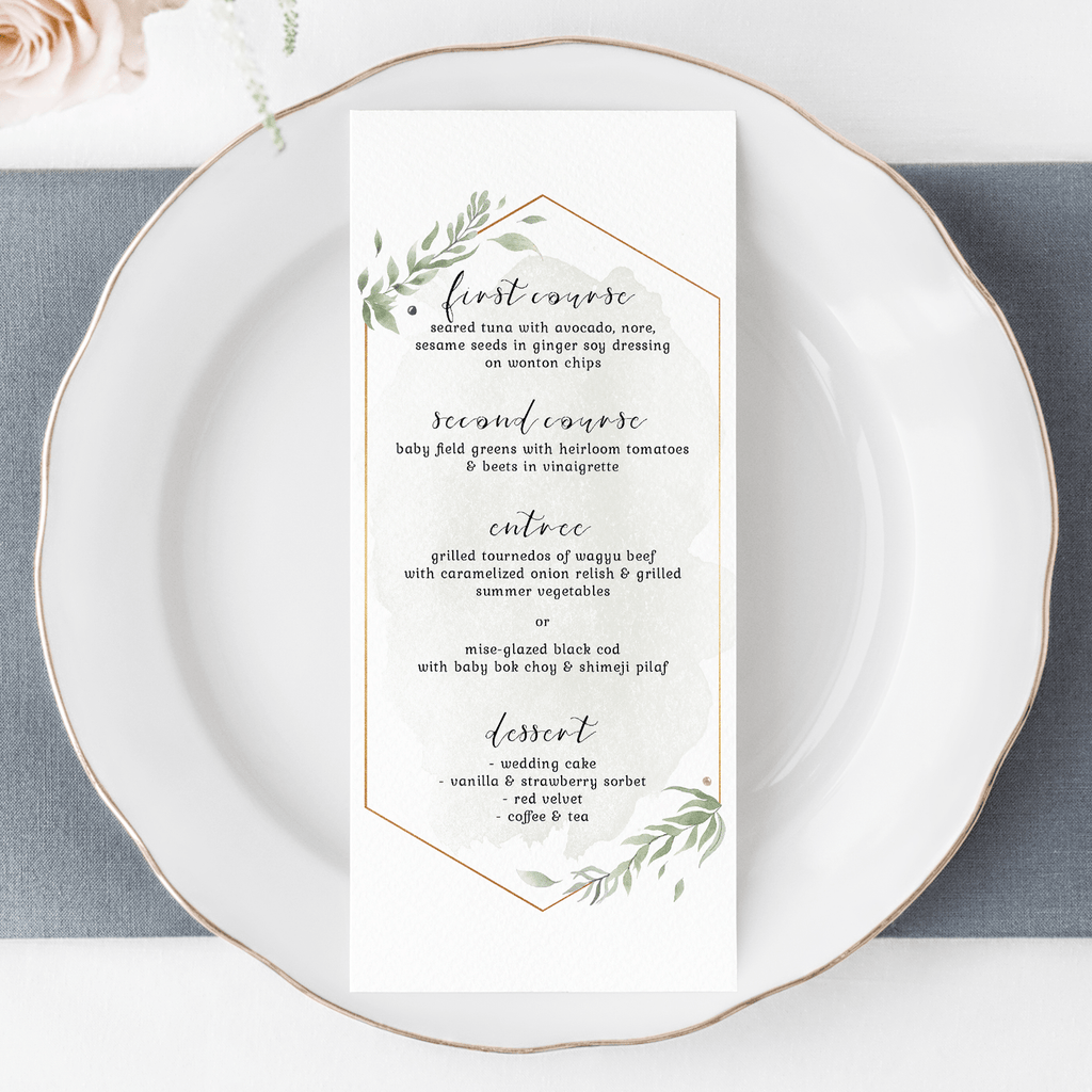 Personalized Wedding Menu Card