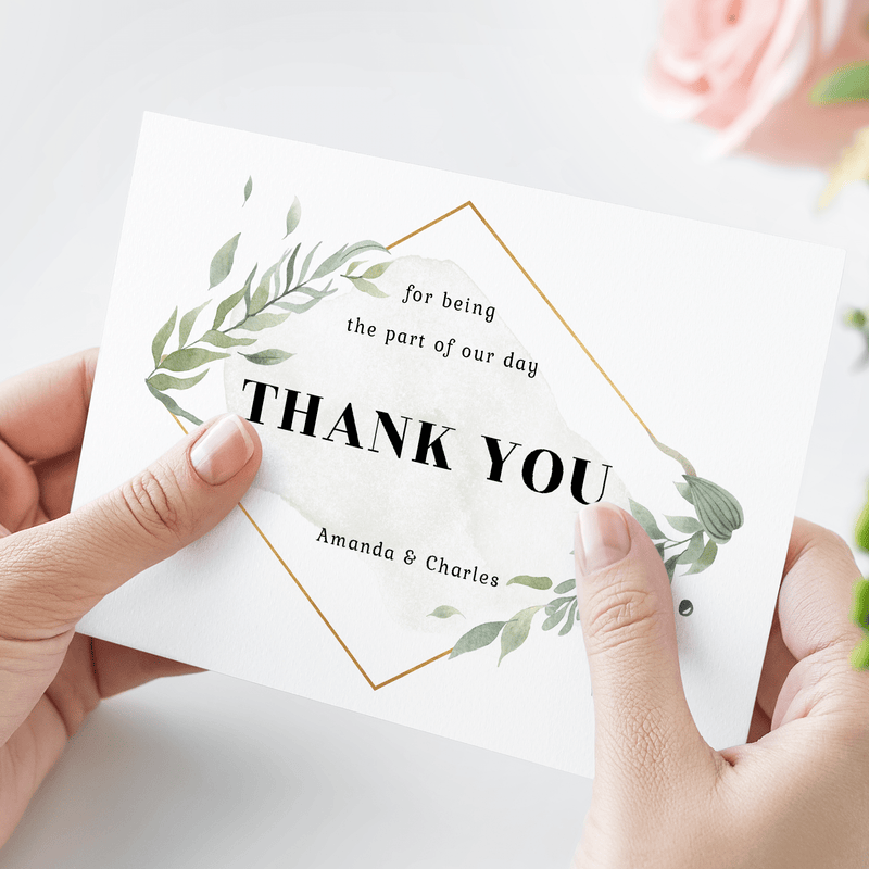 Personalized Wedding Thank You - Glacelis' sentimental Thank You wedding card offers timeless design with the option to put the names of the bride and groom on the card. Your family and friends will cherish this simple and elegant Thank You card to help them remember being a part of your special wedding day.