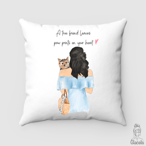 Personalized Woman and Dog Pillow